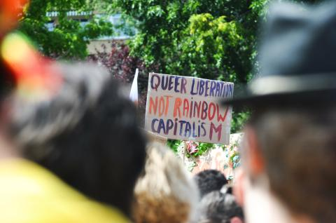 Schild auf Demo: Queer Liberation, not Rainbow Capitalism