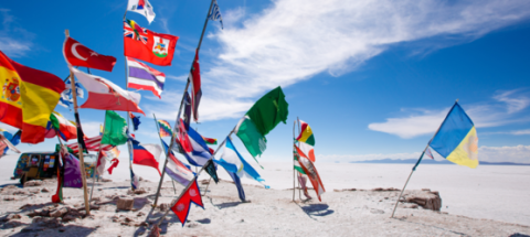 Beach with many flags